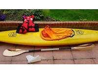 12ft kayak with ore, splash deck training spigot and 60-80kg bouncy aid jacket