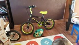 Children's bike, age 4 - 6, dinosaur design with matching helmet