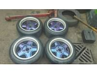 "15"" 4x108 genuine ford revolution alloys and tyres not peugeot dimma wide wheels banded steels"