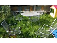 ROUND METAL GARDEN PATIO TABLE & 6 CHAIRS SET Silver