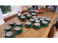 A selection of Steelite Carnival crockery in green red and blue