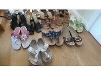 12 Pairs of Used Women's shoes - Next, Clarks, Hush Puppies and other makes - size 5 and 6