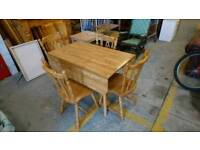 Pine Drop-leaf Table with 4 chairs