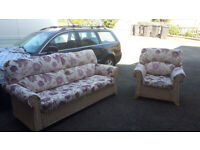 wicker settee and chair