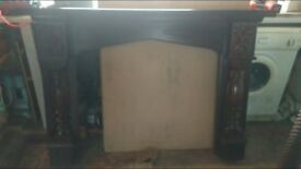 Wooden Frame for Fireplace Dark Brown