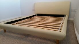 Double Bed - Cream Leather Effect - Low with 60s Style Legs
