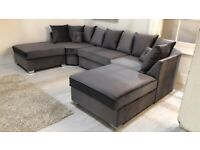 ❗❗ Brand New U-Shape Corner Sofa in Plush Velvet Grey - Also Available in High Back ❗❗