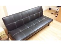 Black Leather Sofabed/Futon