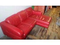 Red Leather DFS sofa - Delivery available