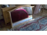 Good quality over mantle bevelled ornate gold colour mirror