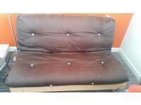 Brown/cream reversible mattress futon