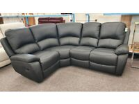 Milano Black Leather Manual Recliner Corner Sofa New Boxed Can Deliver