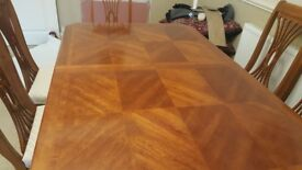 Excellent condition real wood mahogany dining table and six chairs