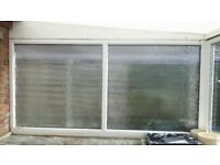 White UPVC double glazed frosted window