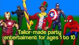 ** CLOWN MASCOT Childrens Entertainer kids hire MAGICIAN SPIDERMAN birthday Balloon modeller modeler