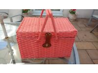 Vintage Flamingo Pink Picnic Basket / Cool Bag / Retro Cool Box