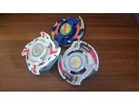 Beyblades dragoon, drigger and dranzer with launchers