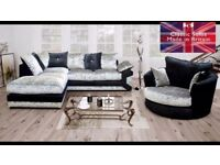 New Calvin Crushed Velvet coner sofa and matching cuddle chair sofa.