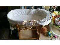 Moses basket, mattress & stand
