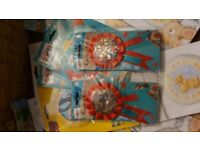 Birthday party invitations, foil helium balloons, banners, party bags, badges