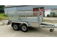8 2 X 4 2 twin axle trailer stamped mesh sides removable