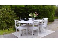 Large, Vintage Dining Table & 6 Chairs. Shabby Chic, Old White. Delivery Available.
