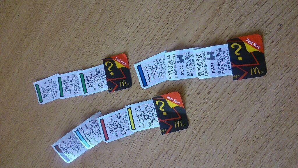 Mcdonalds monopoly stickers in east kilbride glasgow gumtree