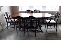 John COYLE EXTENDING DINNING TABLE 6 CHAIRS AND SOFA TABLE