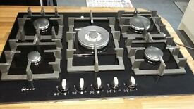 Brand new boxed 710mm x 520mm Neff 5 ring gas hob in Black Glass for sale.