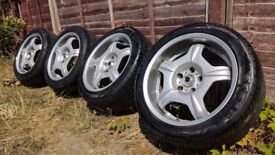 R17 5x1114 Rays engineering Payton place BTC Staggered alloy wheels with tyres. 8/9jj (Supra, 200sx
