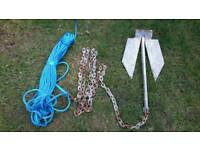 Boat anchor with rope and chain