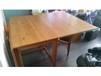 Large Drop-leaf Solid Wood Dining Table