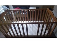 FRAMED WOODEN COT/BED WITH MATTRESS JOHN LEWIS FOR SALE