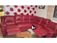 Red leather corner suite