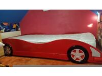 car single bed frame with nearly new orthapaedic mattress
