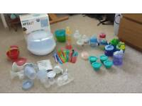Baby steriliser, breast pump, bottles bundle