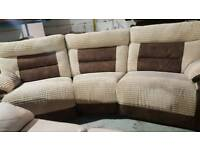 Ex display saddle fabric grey & brown reclining 3 piece curve and single chair