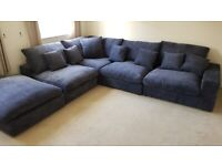 Extra deep fabric corner sofa
