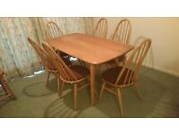 Ercol Elm Plank Dining Table and 6 Windsor Quaker Dining Chairs in excellent condition