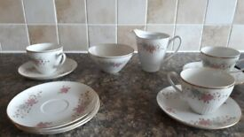 Vintage czech set 3 cups and saucers mik jug and sugar bowl