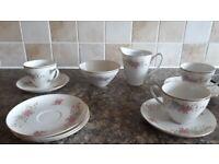 Vintage czech set 3 cups and saucers mik jug and sugar bowl