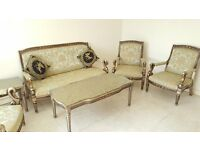 Bronze/Gold Solid Wood Carved Frame French Style Lounge Set with Green & Gold Satin Upholstery