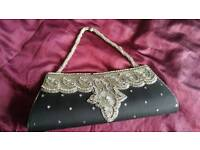 Gorgeous black silver asian handbag clutch
