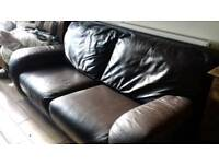 2 × two seater brown leather sofas