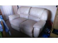 Recliner cream leather 2 seater sofa