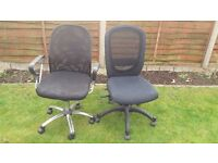 2 Black Office Chairs for sale