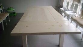Solid timber extendable dining room table
