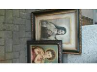Old christian pictures in old frames