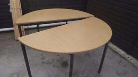 Two half rounded round dinning table can deliver