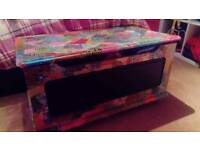 Decoupaged blanket box